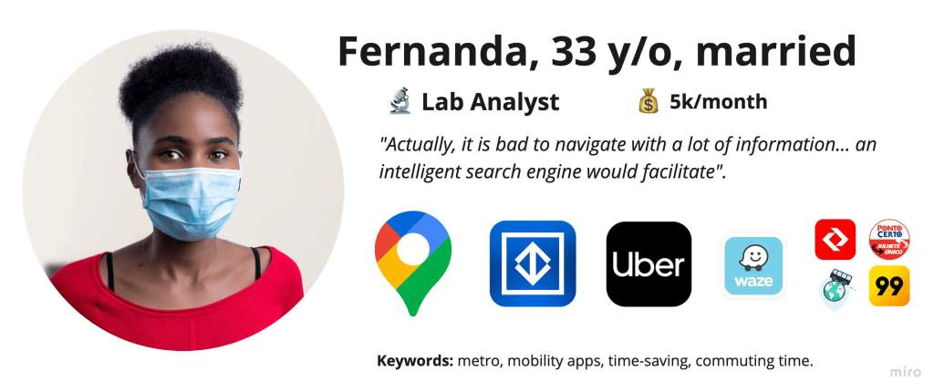"""Persona: Fernanda's pic, 33 y/o, married, lad analyst, 5k/month, a phrase """"Actually, it is bat to navigate with a lot of information... an intelligent search engine would facilitate"""". Apps icons: Google Maps, Metro SP, Uber, Waze and others."""