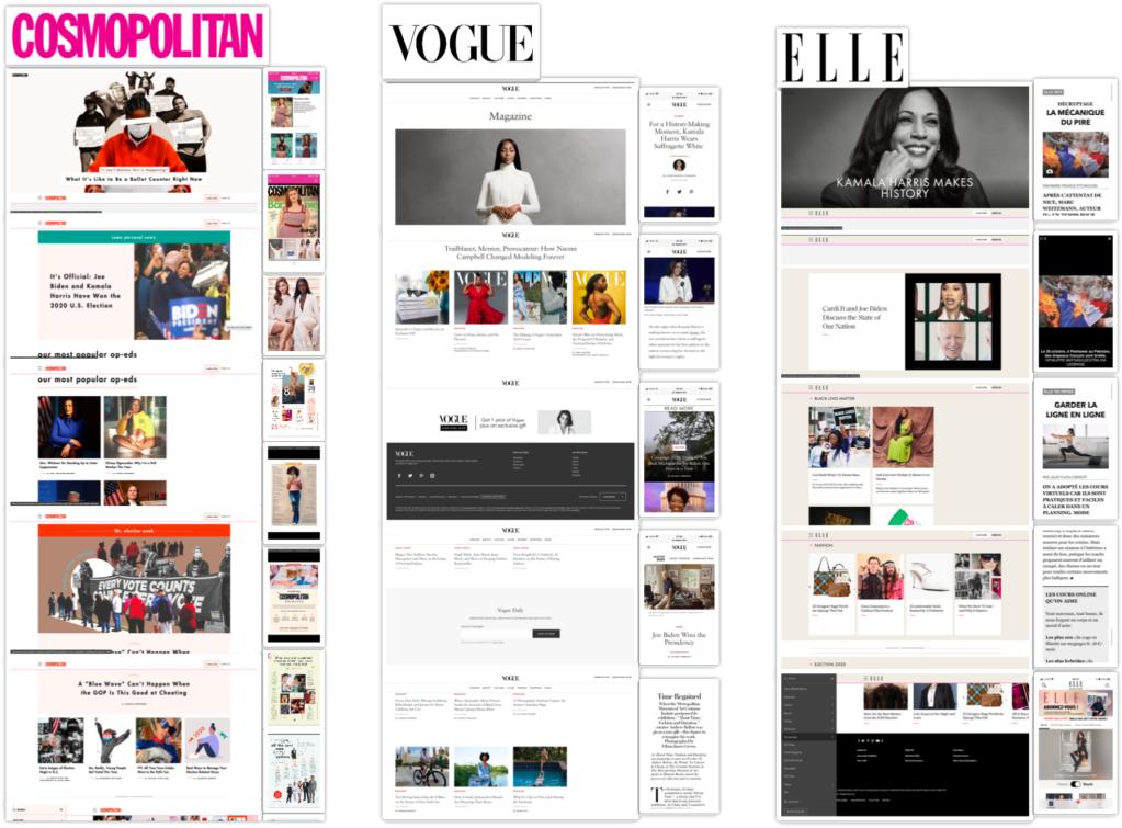 Cosmopolitan, Vogue and Elle Visual Competitive Analysis.